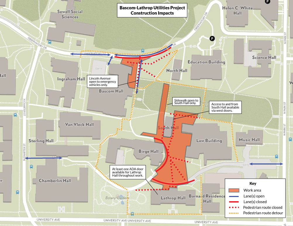 Work Area, Closures, and Detours on Bascom Hill and environs (October 2019-March 2020)